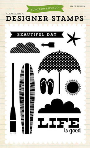 Echo Park Clear Stamp Set - Beach Day