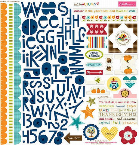Bella Blvd 12x12 Cardstock Stickers - Hello Autumn - Treasures & Texts