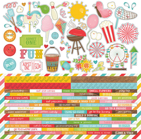 Photo Play 12x12 Cardstock Stickers - Bucket List - Word Strips