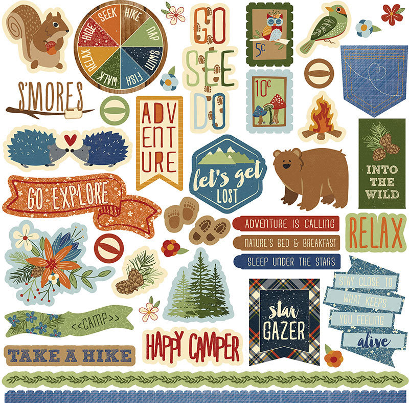 Photo Play 12x12 Cardstock Stickers - Campfire - Elements