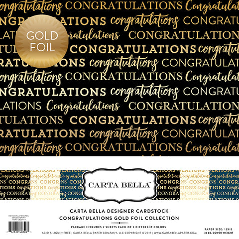 Carta Bella Designer Cardstock Kit -  Congratulations - Gold Foil