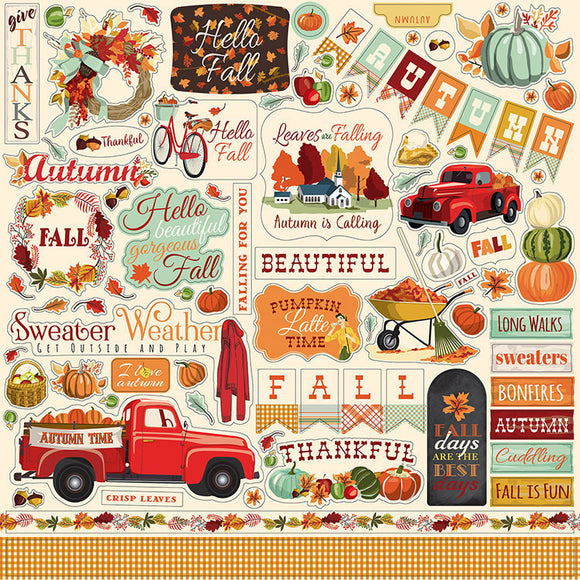 Carta Bella 12x12 Cardstock Stickers - Fall Break - Elements
