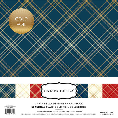 Carta Bella Designer Cardstock Kit -  Seasonal Plaid - Gold Foil