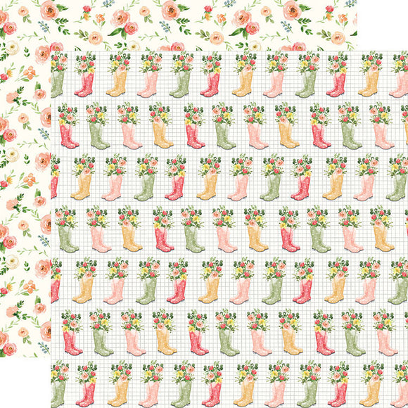 Carta Bella Papers - Spring Market - Rainboots - 2 Sheets