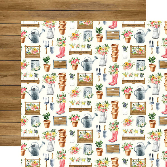 Carta Bella Papers - Spring Market - Market Planters - 2 Sheets
