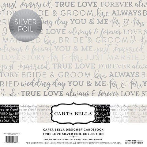 Carta Bella Designer Cardstock Kit - True Love - Wedding - Silver Foil