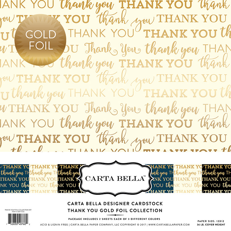 Carta Bella Designer Cardstock Kit - Thank You - Gold Foil