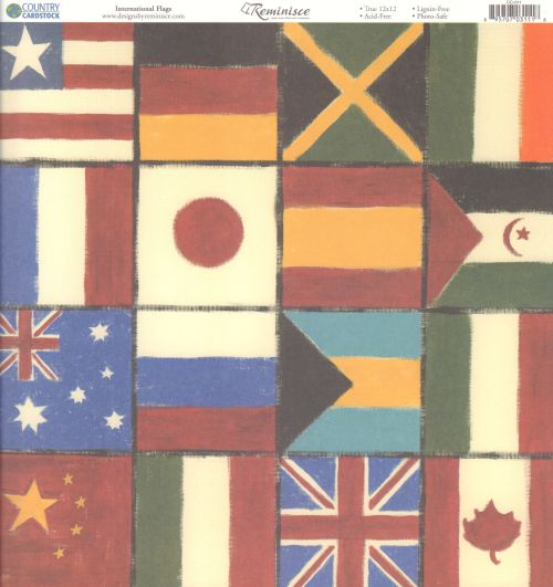 Reminisce Papers - Country Cardstock - International Flags - 2 Sheets