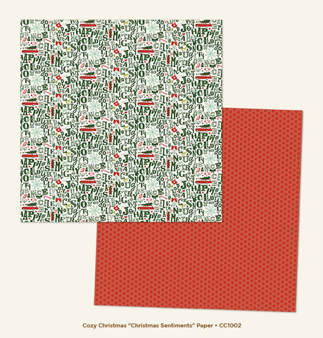 My Mind's Eye Paper - Cozy Christmas - Christmas Sentiments - 2 Sheets