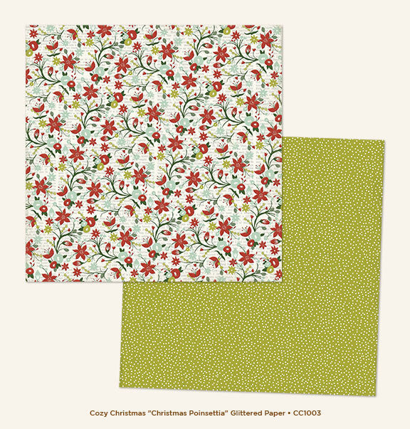 My Mind's Eye Paper - Cozy Christmas - Christmas Poinsettia - Glitter - 2 Sheets