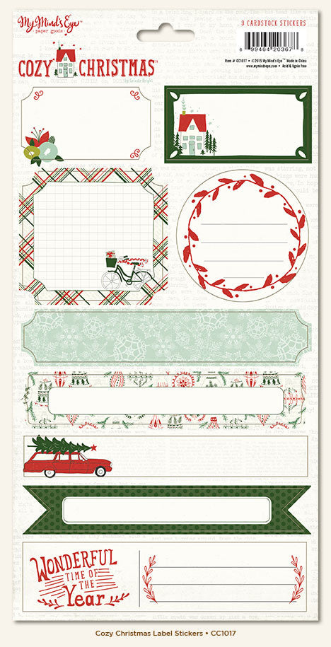 My Mind's Eye Cardstock Stickers - Cozy Christmas - Labels