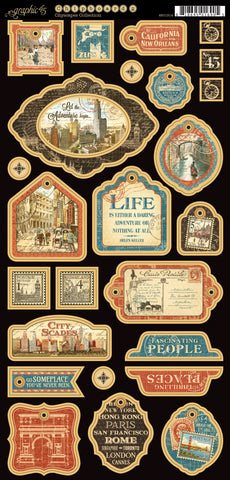 Graphic 45 Chipboard - Cityscapes (B)