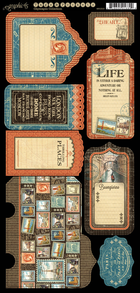 Graphic 45 Die-Cuts - Cityscapes - Tags & Pockets