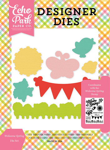 Echo Park Stamp and Die Set - Celebrate Spring - Welcome Spring