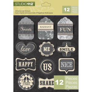 K&Company Studio 112 Dimensional Stickers - Words Tags