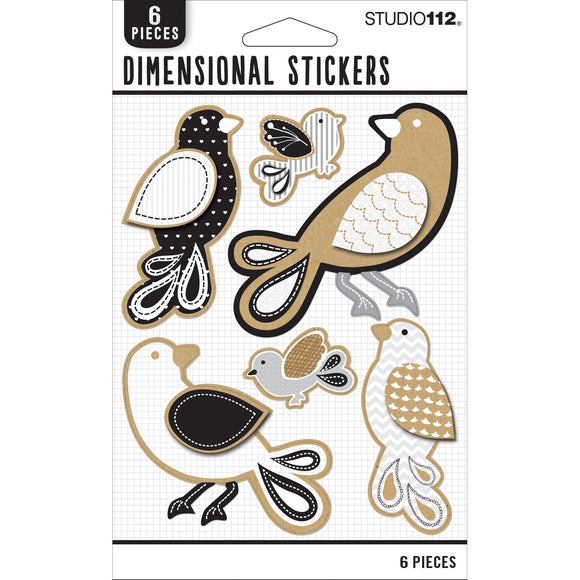 K&Company Studio 112 - Neutral Dimensional Stickers - Birds