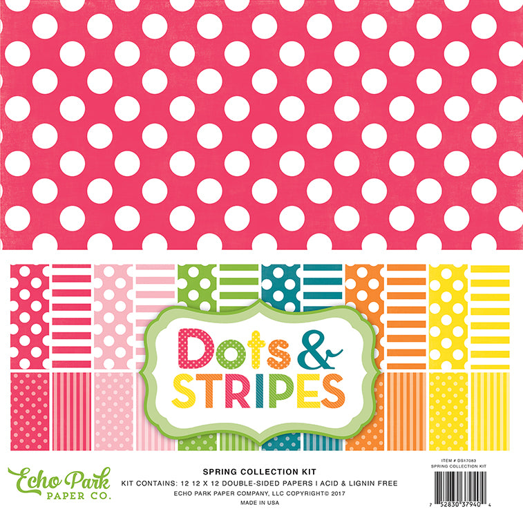 Echo Park Collection Kit - Dots & Stripes - Spring