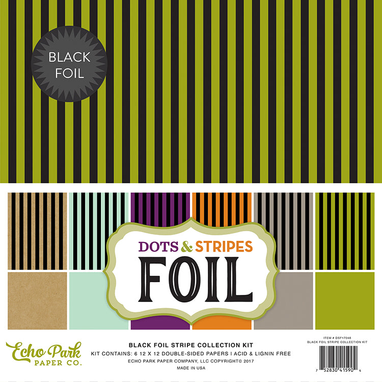 Echo Park Collection Kit - Dots & Stripes Designer Cardstock - Black Foil Stripe