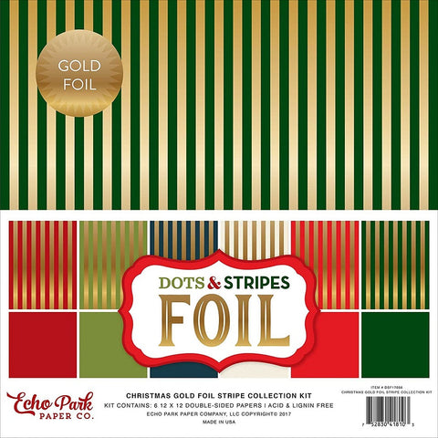 Echo Park Collection Kit - Dots & Stripes Designer Cardstock - Christmas Gold Foil