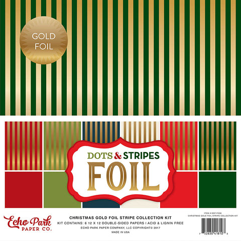 Echo Park Collection Kit - Dots & Stripes Designer Cardstock - Christmas Gold Foil - Combo