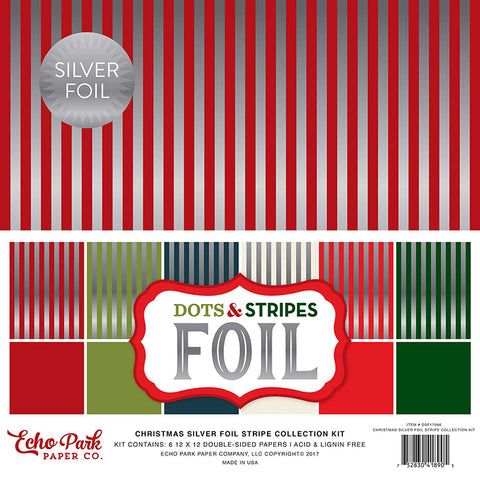 Echo Park Collection Kit - Dots & Stripes Designer Cardstock - Christmas Silver Foil - Combo