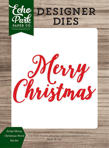 Echo Park Designer Dies - Christmas Cheer - Script Merry Christmas Words Set