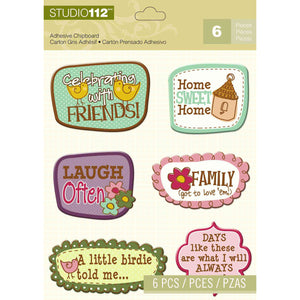 K&Company Studio 112 Adhesive Chipboard - Spring Sentiments