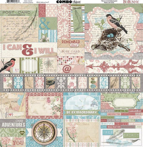 Bo Bunny Cardstock 12x12 Combo Stickers - Garden Journal