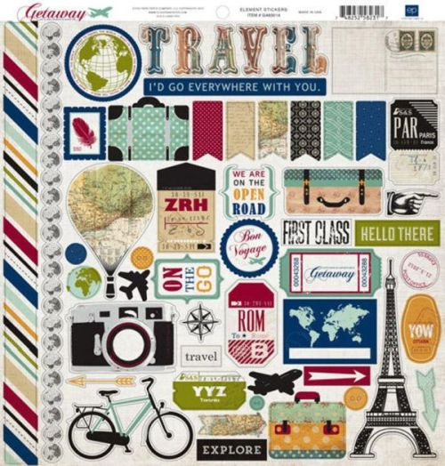 Echo Park 12x12 Cardstock Stickers - Getaway - Elements