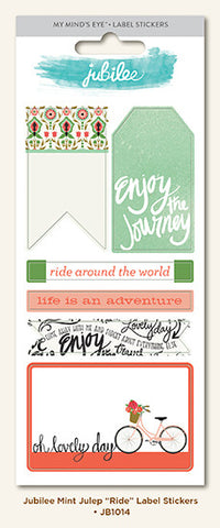 My Mind's Eye Cardstock Stickers - Jubilee - Mint Julep - Ride