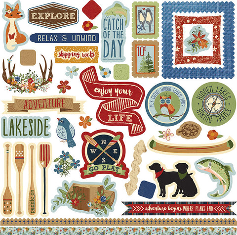 Photo Play 12x12 Cardstock Stickers - Lakeside - Elements