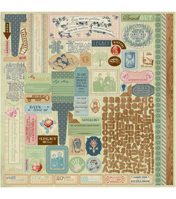 Authentique 12x12 Cardstock Stickers - Legacy