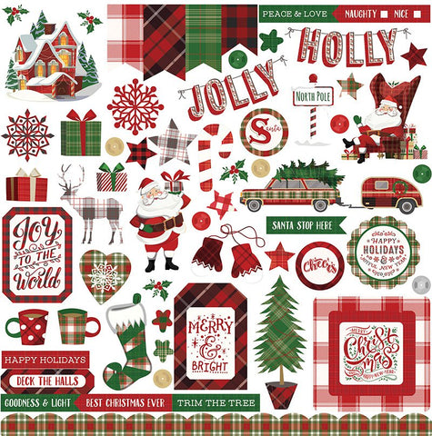 Photo Play 12x12 Cardstock Stickers - Mad 4 Plaid - Christmas - Elements