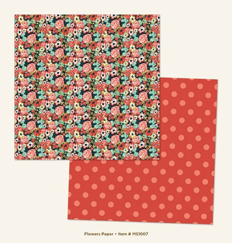 My Mind's Eye Paper - Market Street - Ashbury Heights - Flowers - 2 Sheets