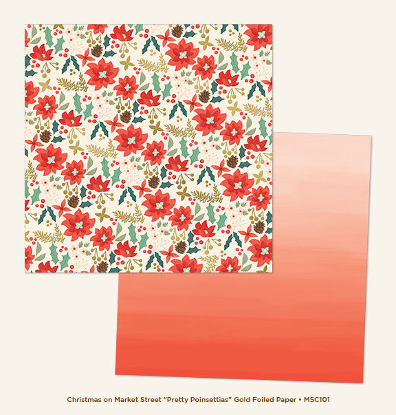 My Mind's Eye Paper - Christmas On Market Street - Pretty Poinsettias - Gold Foil - 2 Sheets