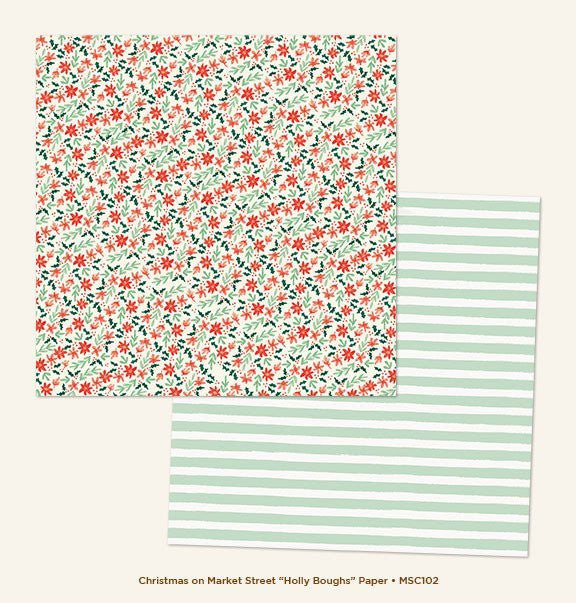 My Mind's Eye Paper - Christmas On Market Street - Holly Boughs - 2 Sheets