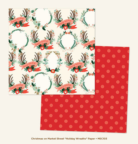 My Mind's Eye Paper - Christmas On Market Street - Holiday Wreaths - 2 Sheets