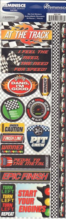 Reminisce Long Cardstock Stickers - Racing