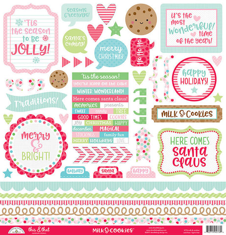 Doodlebug Design 12x12 Cardstock Stickers - Milk & Cookies - This & That