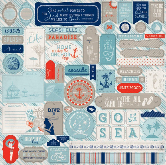 Authentique 12x12 Cardstock Stickers - Seaside