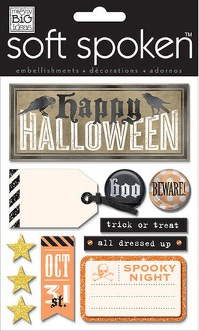 Soft Spoken 3D Embellishments - Halloween Beware