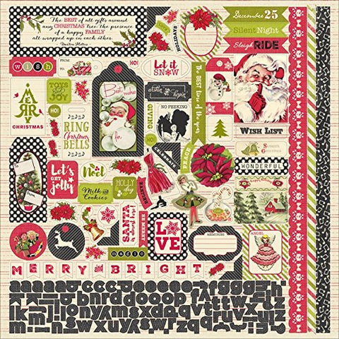 Authentique 12x12 Cardstock Stickers - Vintage Christmas