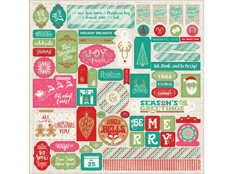 Authentique 12x12 Cardstock Stickers - Colorful Christmas
