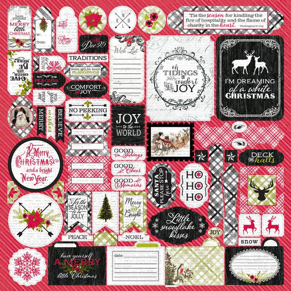 Authentique 12x12 Cardstock Stickers - Tidings