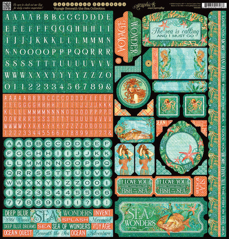 Graphic 45 12x12 Cardstock Stickers - Voyage Beneath the Sea