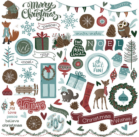 Photo Play 12x12 Cardstock Stickers - Winter Meadow - Elements