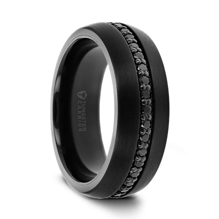 Men's Black Onyx Tungsten Wedding Band