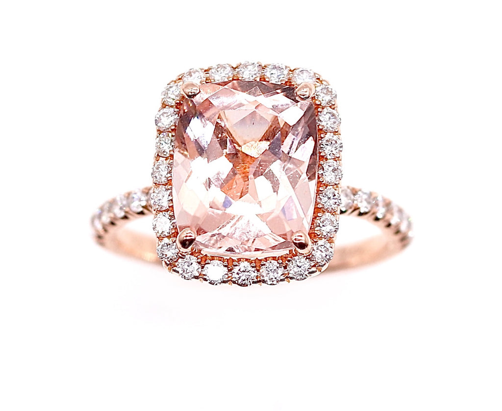 Morganite Ring with Diamonds