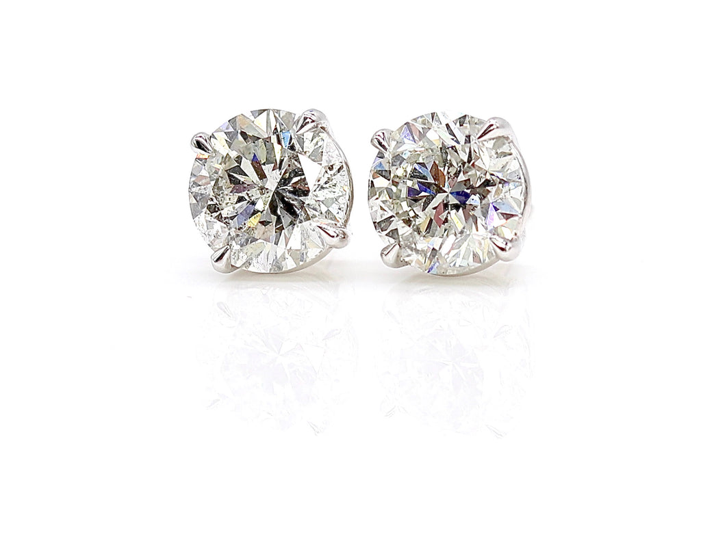 Round Brilliant Diamond Stud Earrings- 4 Carats