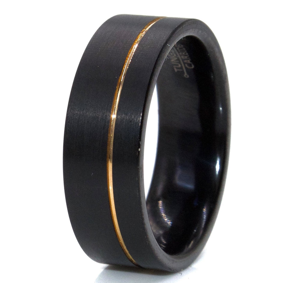 Men's Black Tungsten With Rose Gold Stipe